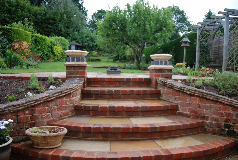 Enchanting Small Garden Landscape Ideas With Stepping Walk: Long Steeply Sloping Garden